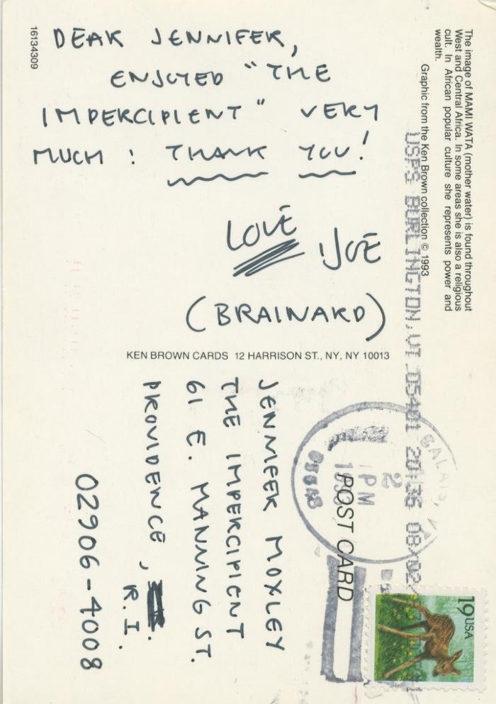 Joe Brainard Postcard to Jennifer Moxley